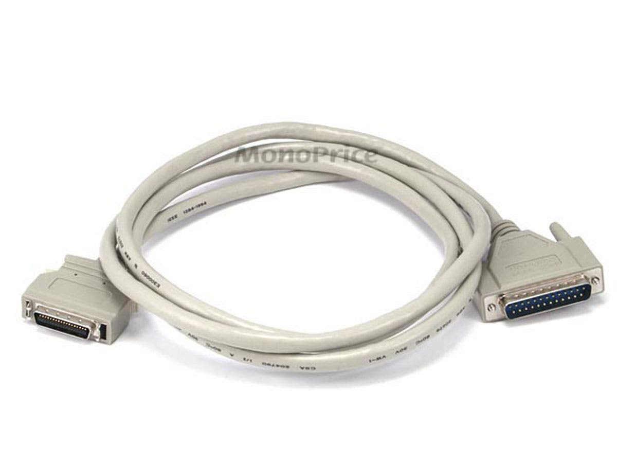 Monoprice 6FT DB-25(IEEE-1284) Male to Mini/Micro Centronic 36(HPCN36) Male Cable [IE]-Large-Image-1