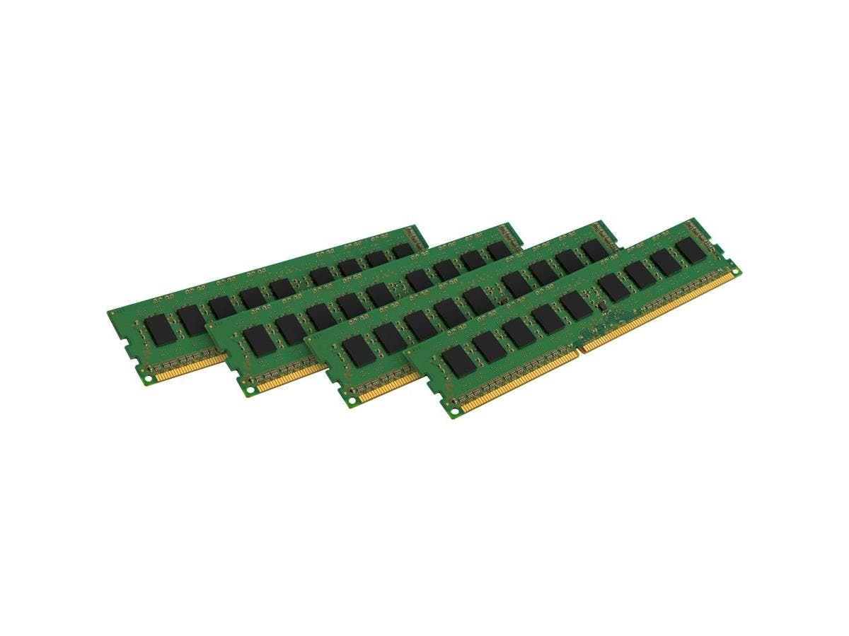 Kingston 32GB 1600MHz ECC Kit of 4 - 32 GB (4 x 8 GB) - DDR3 SDRAM - 1600 MHz DDR3-1600/PC3-12800 - 1.50 V - ECC - Unbuffered - 240-pin - DIMM