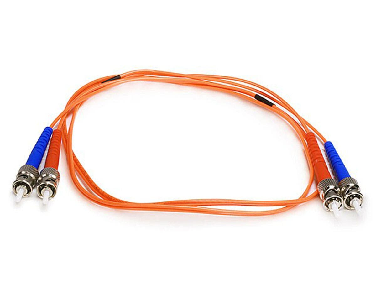 Monoprice Fiber Optic Cable - ST to ST, OM1, 62.5/125 Type, Multi Mode, Duplex, Orange, 1m, Corning-Large-Image-1