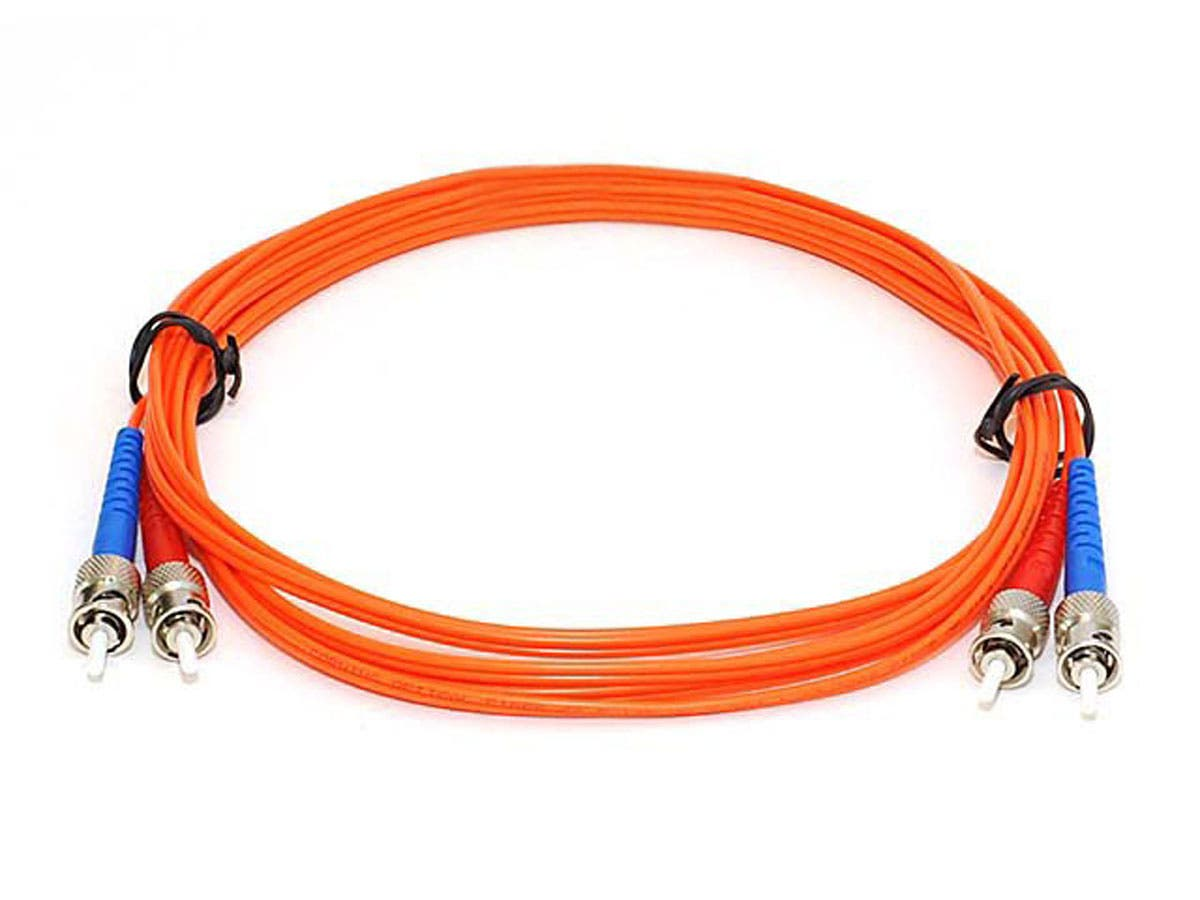 Monoprice Fiber Optic Cable - ST to ST, OM1, 62.5/125 Type, Multi Mode, Duplex, Orange, 3m, Corning-Large-Image-1