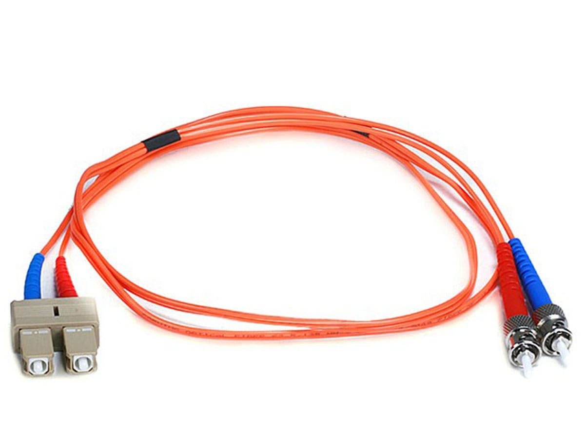 Monoprice Fiber Optic Cable - ST to SC, OM1, 62.5/125 Type, Multi Mode, Duplex, Orange, 1m-Large-Image-1