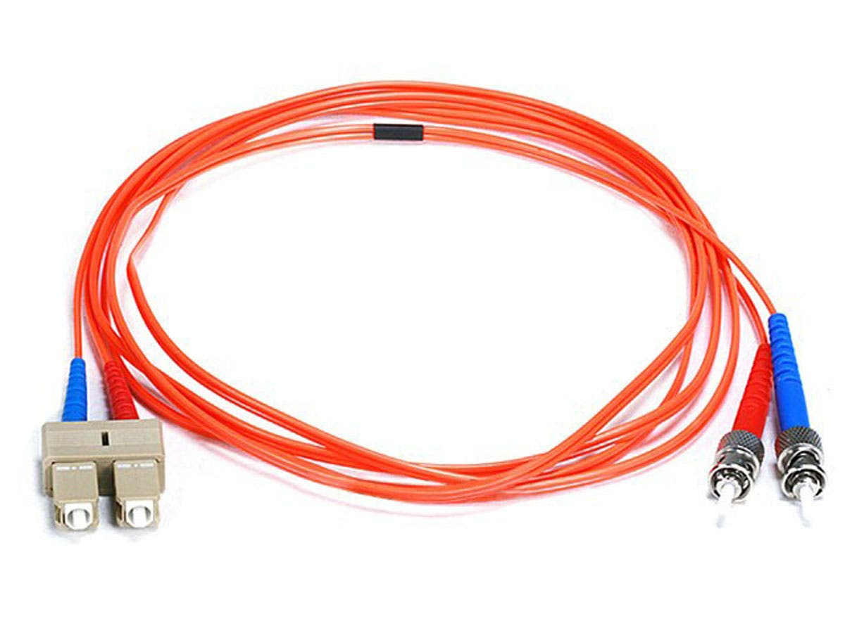 Monoprice Fiber Optic Cable - ST to SC, OM1, 62.5/125 Type, Multi Mode, Duplex, Orange, 2m, Corning-Large-Image-1