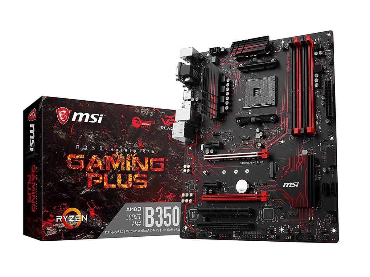 MSI Gaming AMD Ryzen B350 DDR4 VR Ready HDMI USB 3 ATX Motherboard (B350 GAMING PLUS) -Large-Image-1