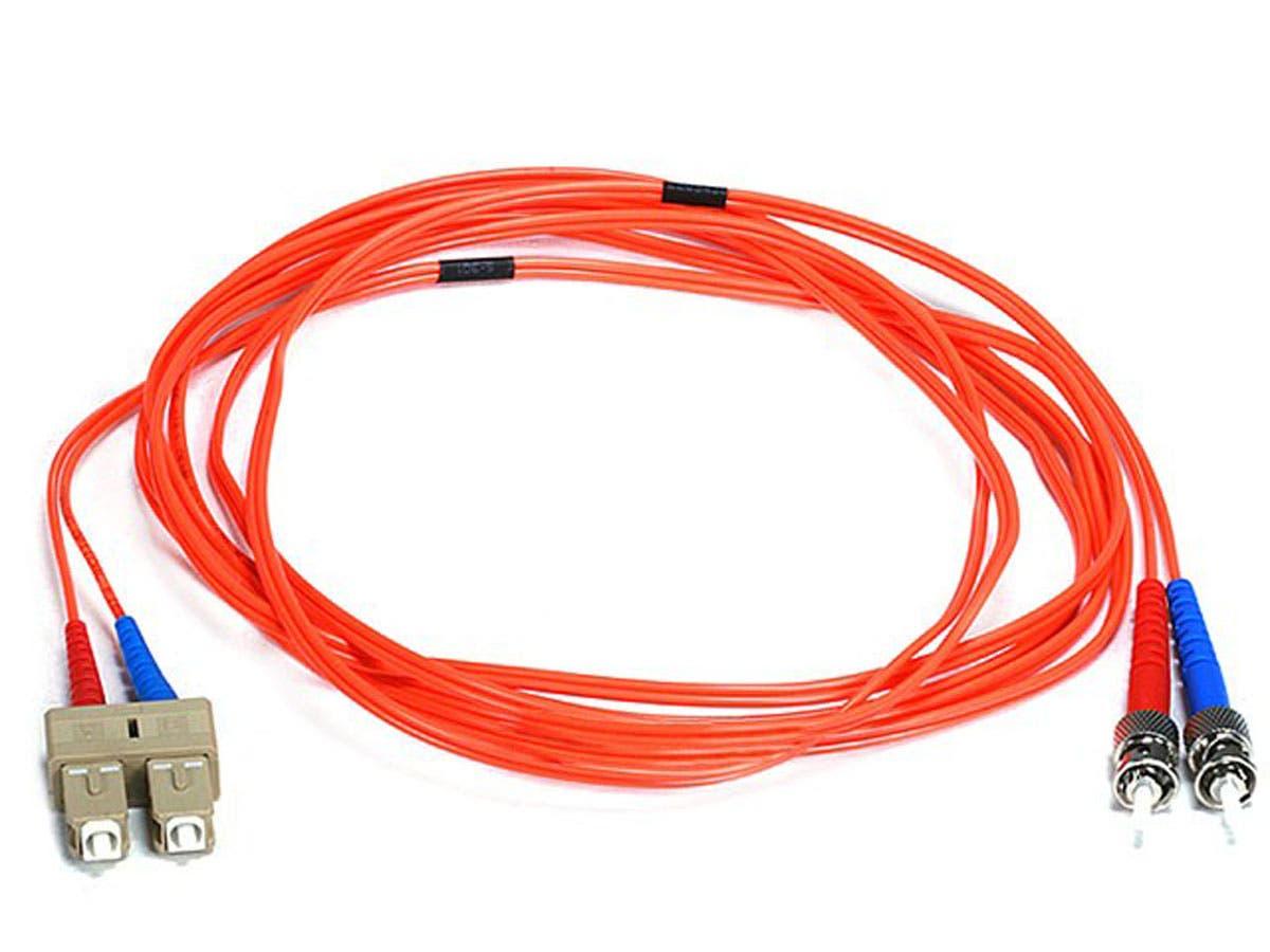 Monoprice Fiber Optic Cable - ST to SC, OM1, 62.5/125 Type, Multi Mode, Duplex, Orange, 3m, Corning-Large-Image-1