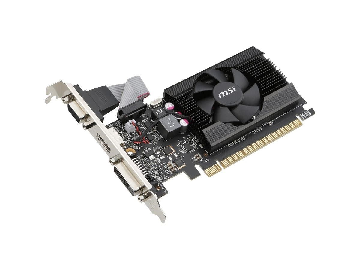 MSI GT 710 2GD3 LP GeForce GT 710 Graphic Card - 954 MHz Core - 2 GB DDR3 SDRAM - PCI Express 2.0 x16 - Low-profile - 64 bit Bus Width - Fan Cooler - DirectX 12, OpenGL 4.5 - 1 x HDMI - 1 x VGA - 1 x