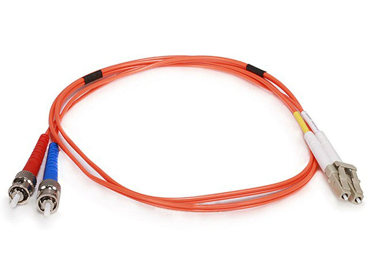 Monoprice Fiber Optic Cable - LC to ST, OM1, 62.5/125 Type, Multi Mode, Duplex, Orange, 1m-Large-Image-1