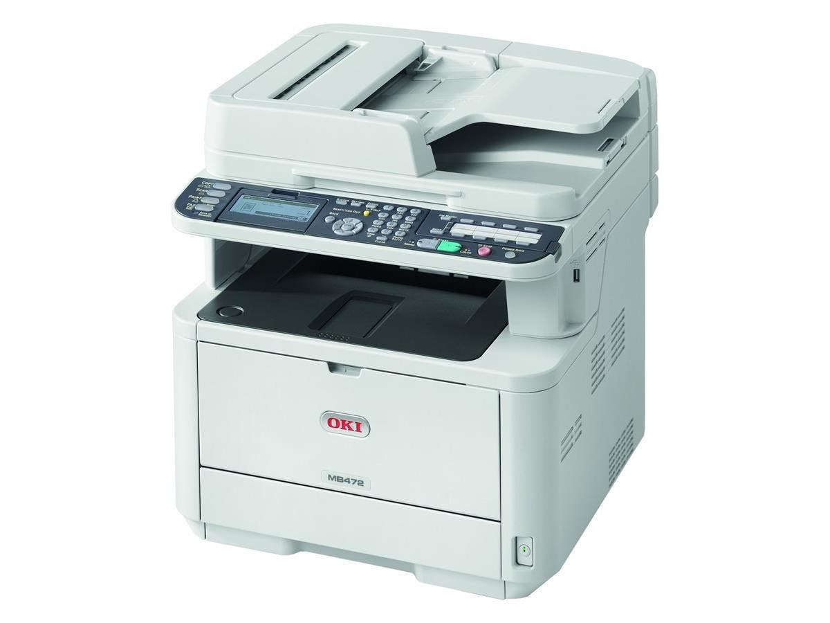 "Oki MB472w LED Multifunction Printer - Monochrome - Plain Paper Print - Desktop - Copier/Fax/Printer/Scanner - 35 ppm Mono Print - 1200 x 1200 dpi Print - 35 cpm Mono Copy - 3.5"" LCD"