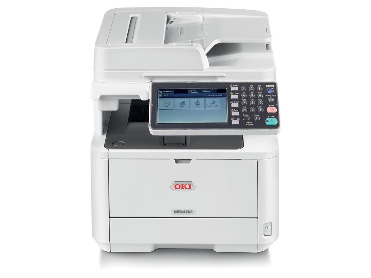 "Oki MB492 LED Multifunction Printer - Monochrome - Plain Paper Print - Desktop - Copier/Fax/Printer/Scanner - 42 ppm Mono Print - 1200 x 1200 dpi Print - 42 cpm Mono Copy - 7"" Touchscreen"
