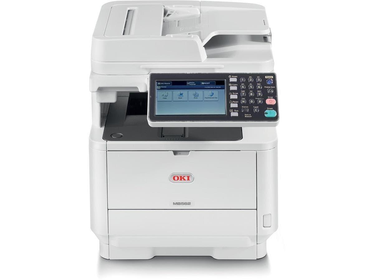 """Oki MB562W LED Multifunction Printer - Monochrome - Plain Paper Print - Desktop - Copier/Fax/Printer/Scanner - 47 ppm Mono Print - 1200 x 1200 dpi Print - 47 cpm Mono Copy - 7"""" Touchscreen"""