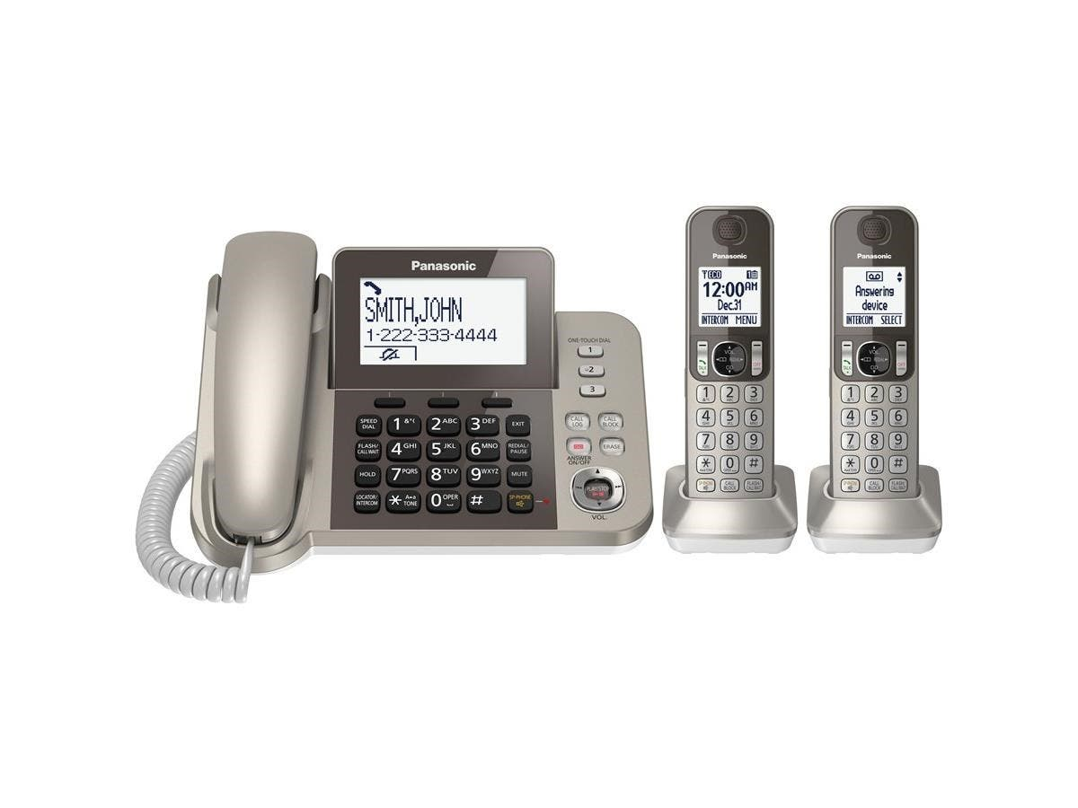 Panasonic KX-TGF352N DECT 6.0 Cordless Phone - Champagne Gold - Corded/Cordless - 1 x Phone Line - 2 x Handset - Speakerphone-Large-Image-1
