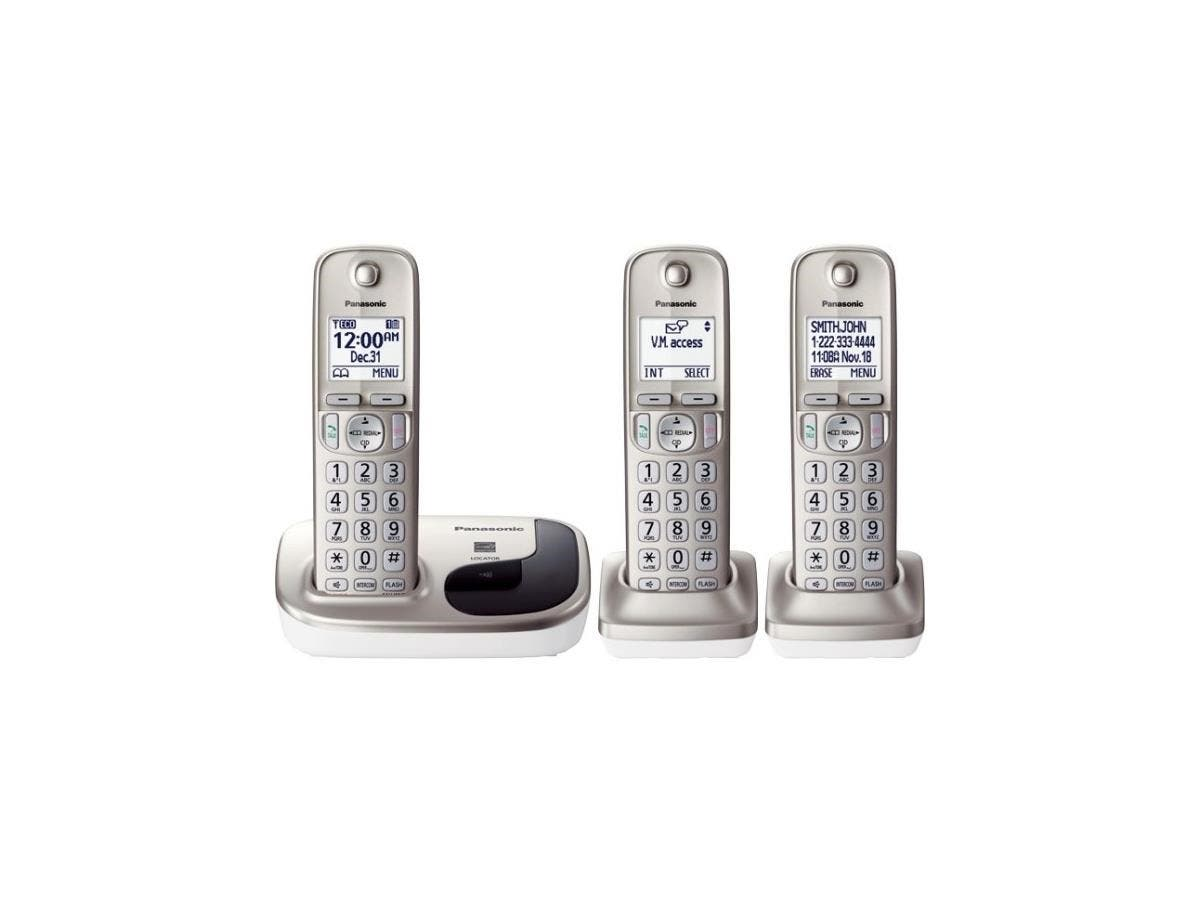 Panasonic KX-TGD213N DECT 6.0 Cordless Phone - Silver - Cordless - 1 x Phone Line - 2 x Handset - Speakerphone - Backlight