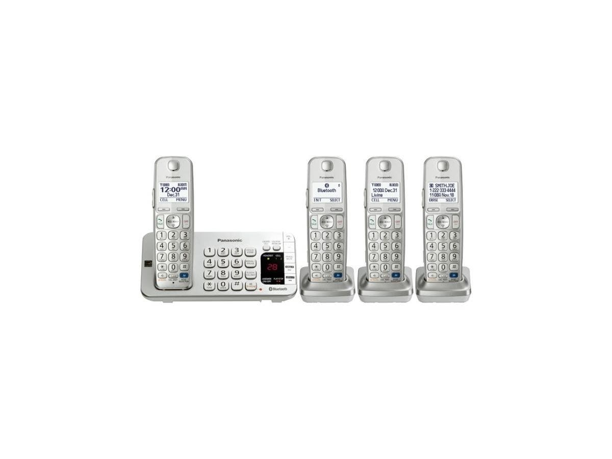 Panasonic Link2Cell KX-TGE274S DECT 6.0 1.90 GHz Cordless Phone - Silver - Cordless - 1 x Phone Line - 3 x Handset - Answering Machine - Hearing Aid Compatible - Backlight-Large-Image-1