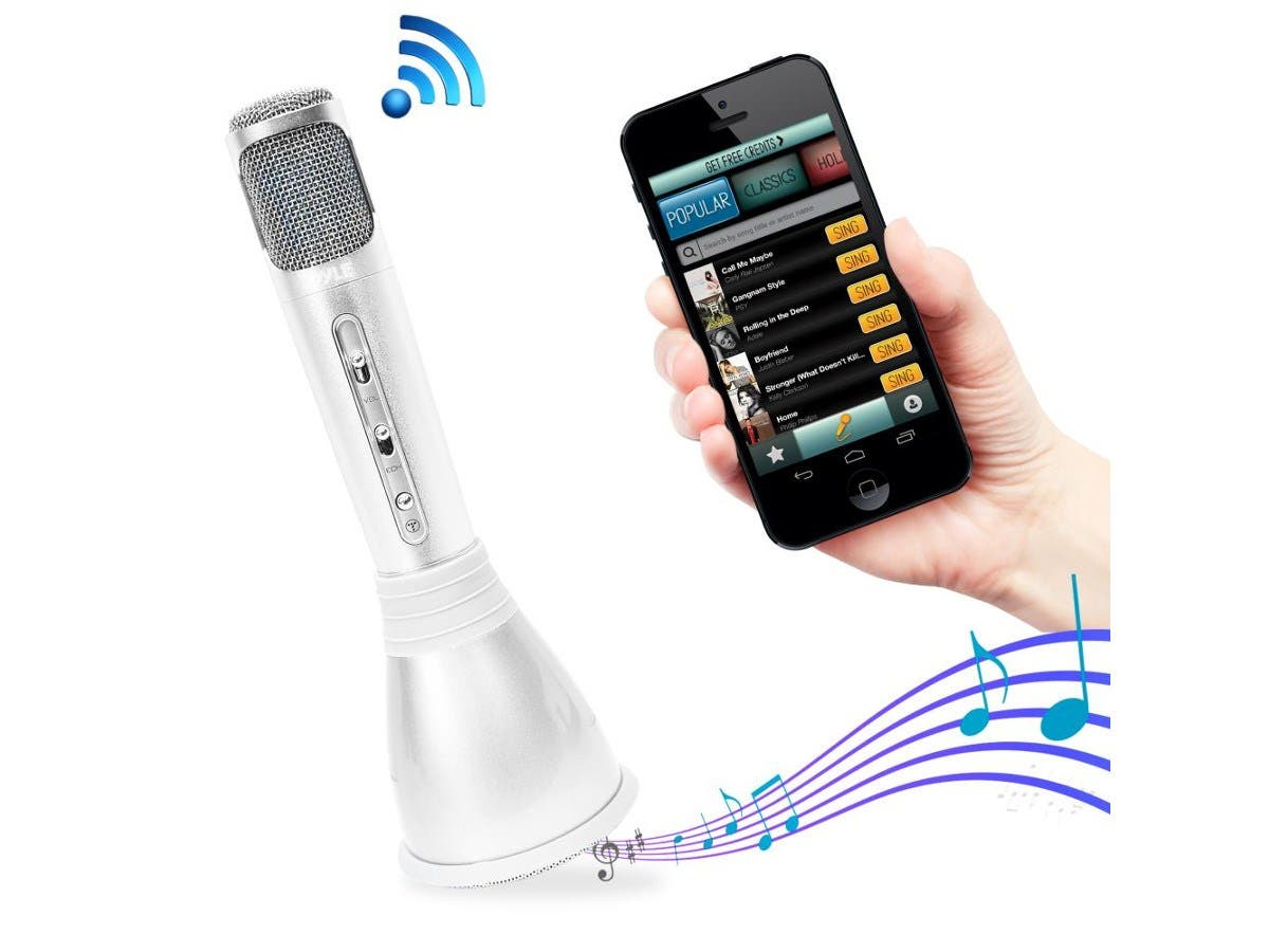 Pyle Wireless Bluetooth Karaoke Microphone Player with Built-in full Range Speaker System - PKRK68MC-Large-Image-1