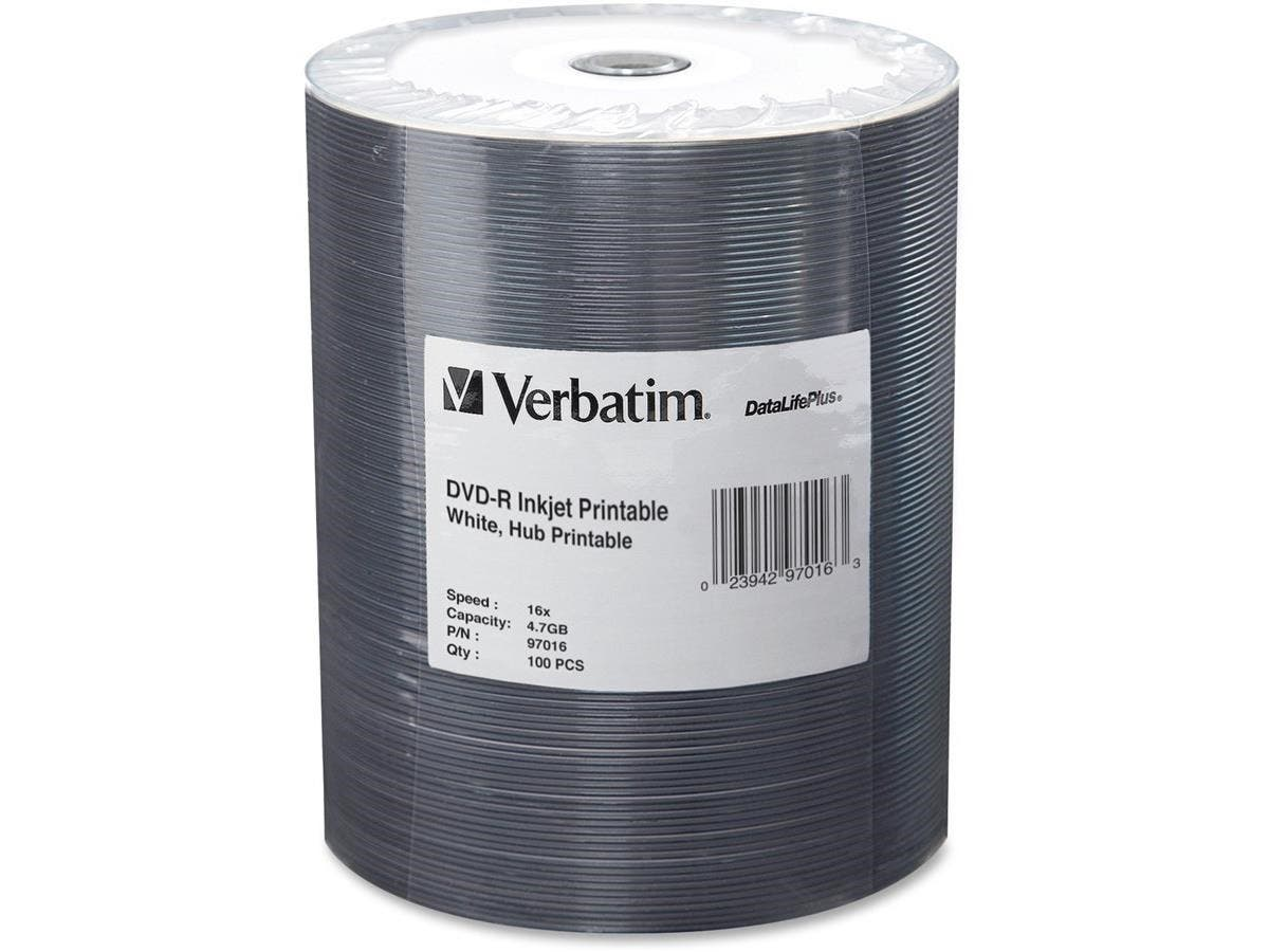 Verbatim DVD-R 4.7GB 16X DataLifePlus White Inkjet Printable, Hub Printable - 100pk Tape Wrap - Inkjet Printable-Large-Image-1