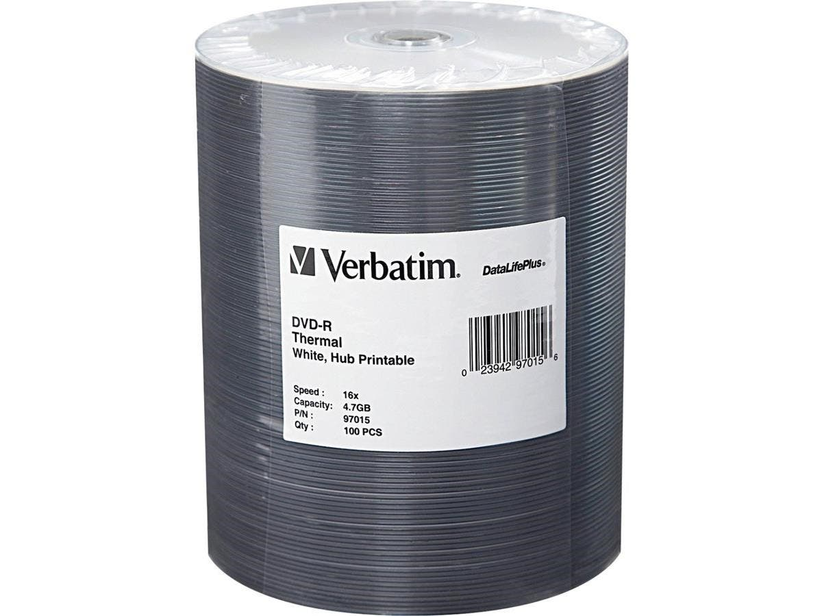 Verbatim DVD-R 4.7GB 16X DataLifePlus White Thermal Printable, Hub Printable - 100Pk Tape Wrap - Thermal Printable