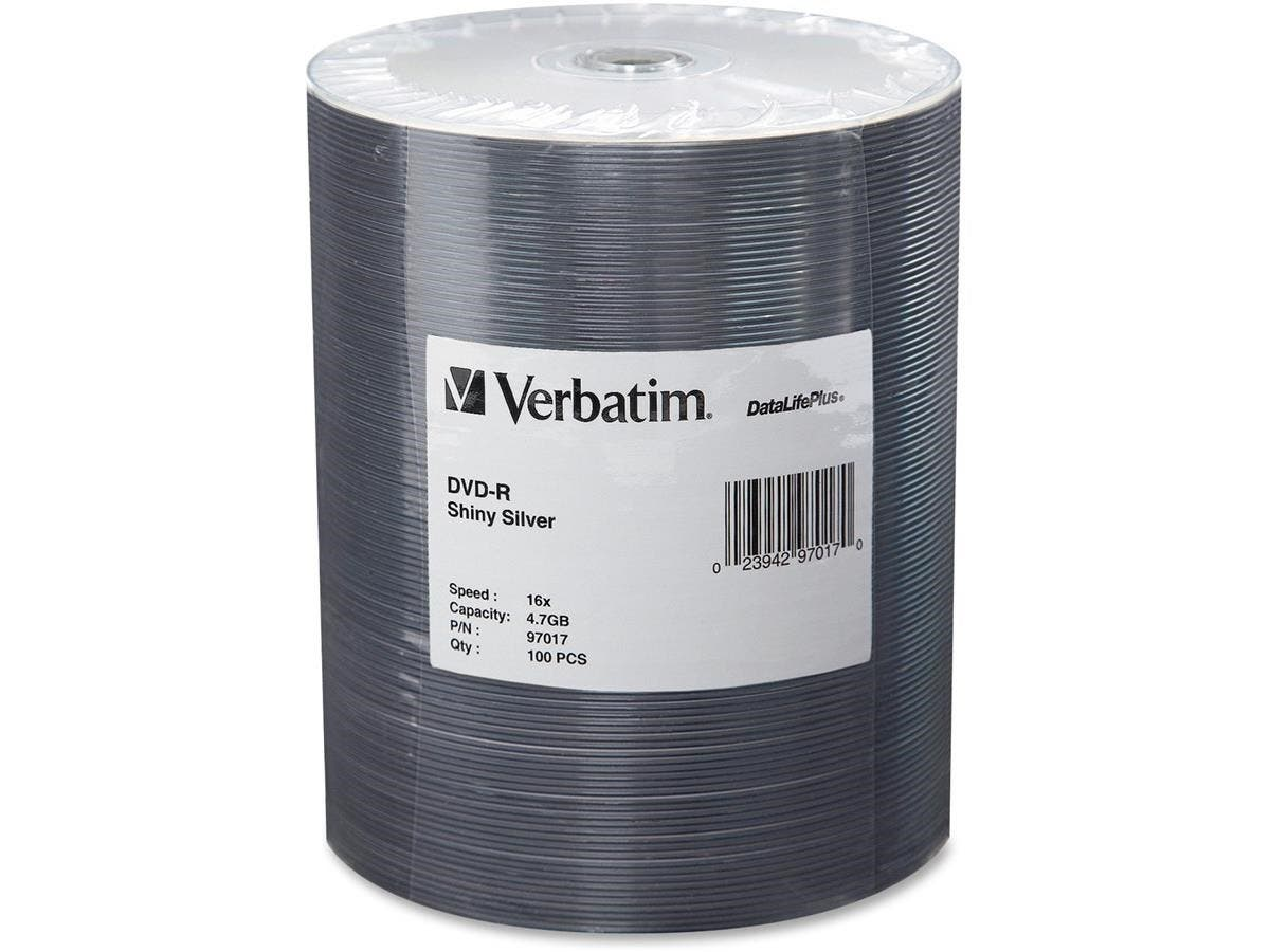 Verbatim DVD-R 4.7GB 16X DataLifePlus Shiny Silver Silk Screen Printable - 100pk Tape Wrap-Large-Image-1