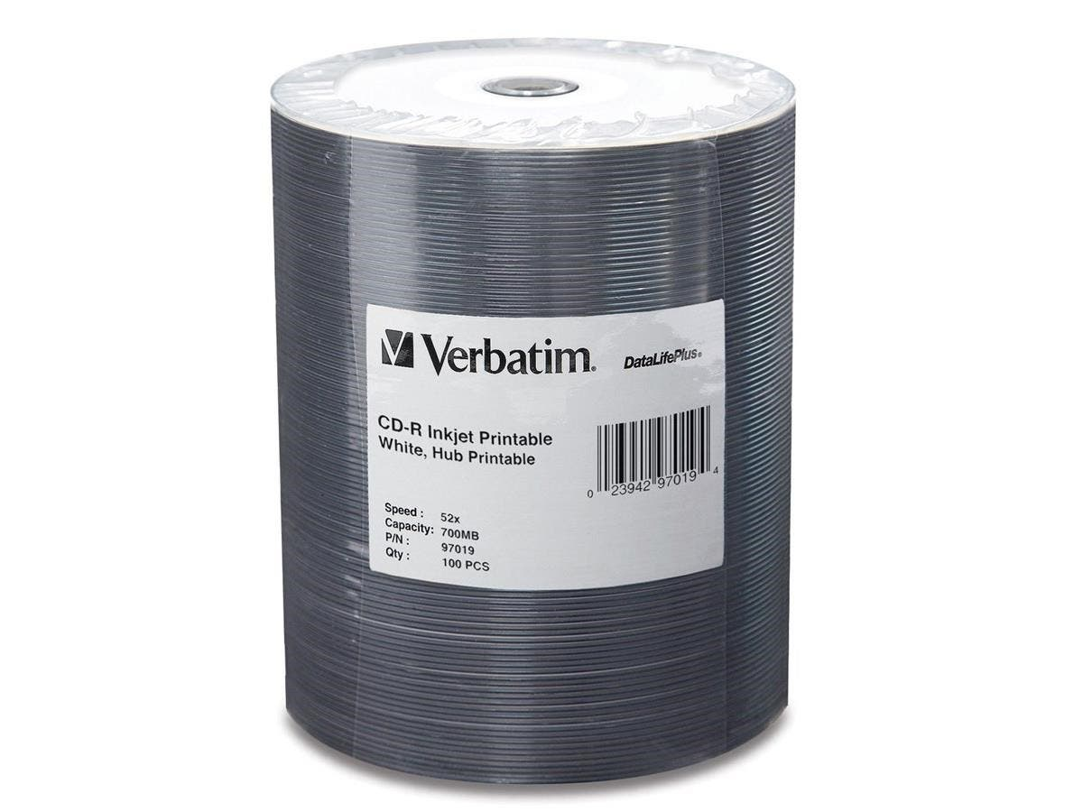 Verbatim CD-R 700MB 52X White Inkjet Printable, Hub Printable - 100pk Tape Wrap - 700MB - 120mm Standard - 100 Pack-Large-Image-1