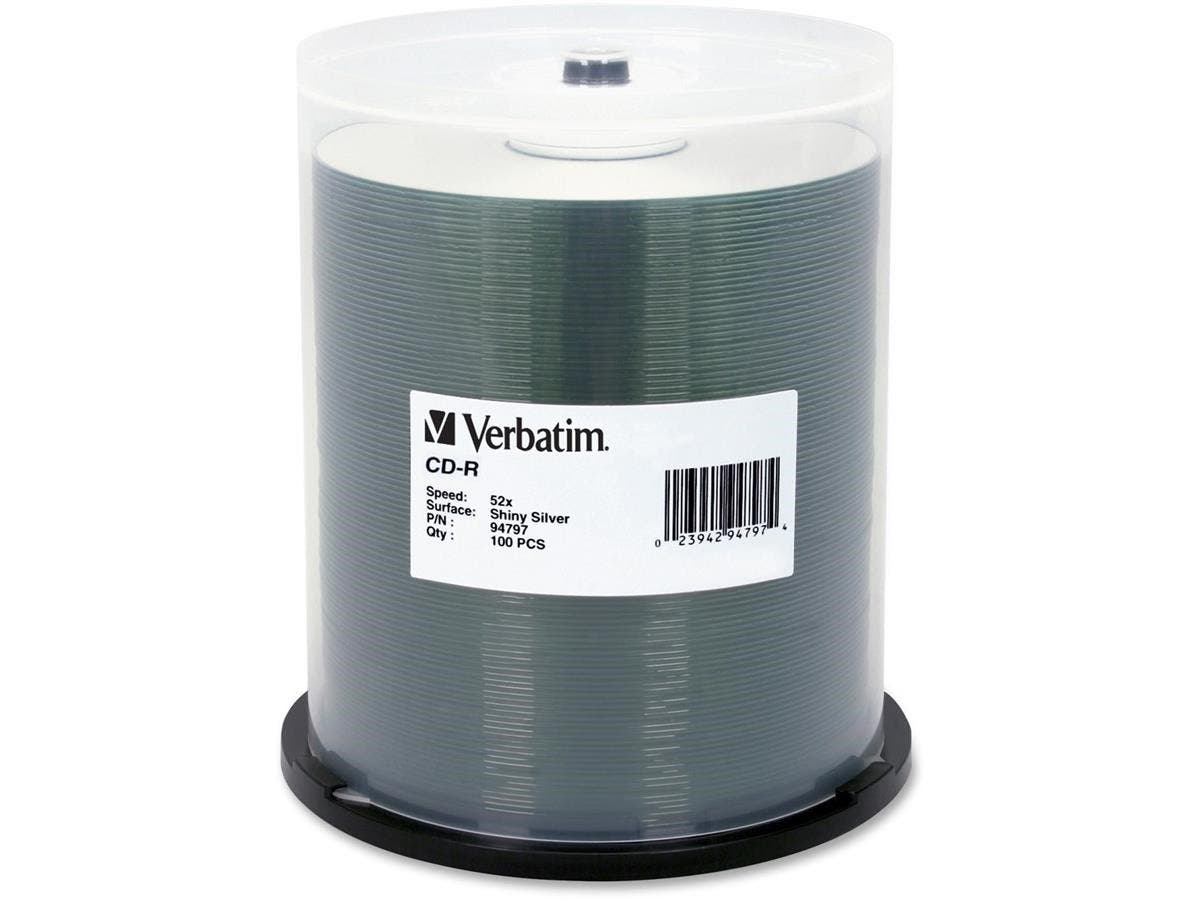 Verbatim CD-R 700MB 52X DataLifePlus Shiny Silver Silk Screen Printable - 100pk Spindle - Printable - Silk-screen Printable-Large-Image-1