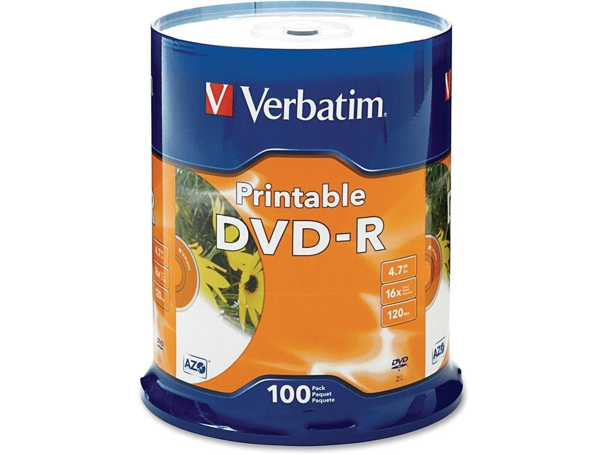 Verbatim DVD-R 4.7GB 16X White Inkjet Printable - 100pk Spindle - TAA Compliant - DVD-R 16X White Inkjet Printable - 4.70 GB - 100pk Spindle-Large-Image-1