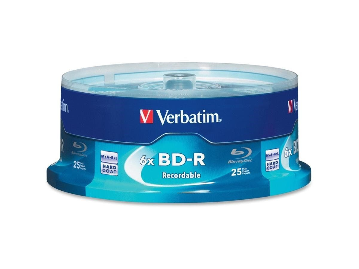 Verbatim BD-R 25GB 6X with Branded Surface - 25pk Spindle Box - TAA Compliant - 25GB - 25pk Spindle