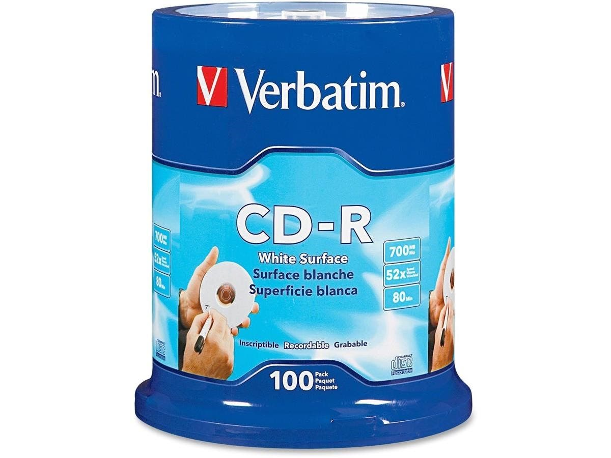 Verbatim CD-R 700MB 52X with Blank White Surface - 100pk Spindle - TAA Compliant-Large-Image-1