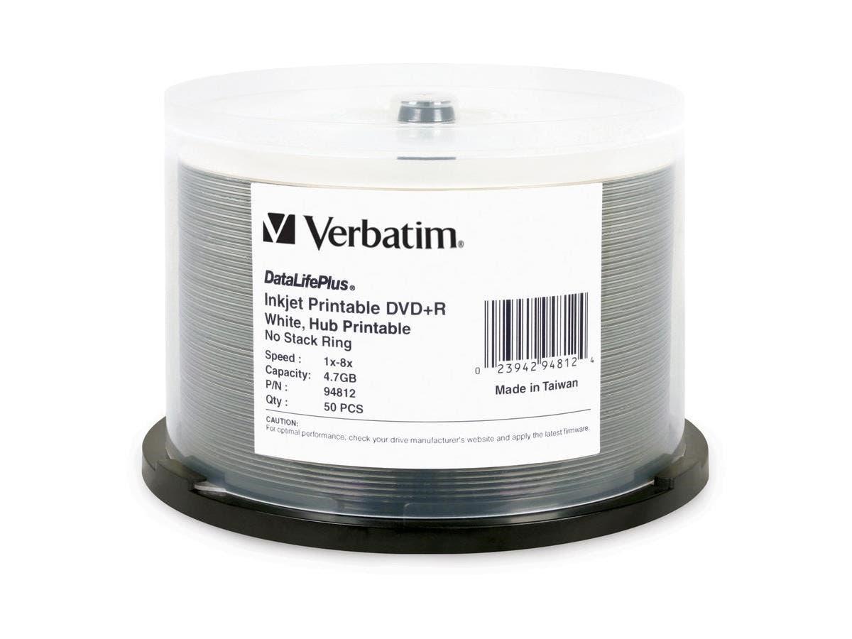 Verbatim DVD+R 4.7GB 8X DataLifePlus White Inkjet Printable, Hub Printable - 50pk Spindle - TAA Compliant - Inkjet Printable-Large-Image-1