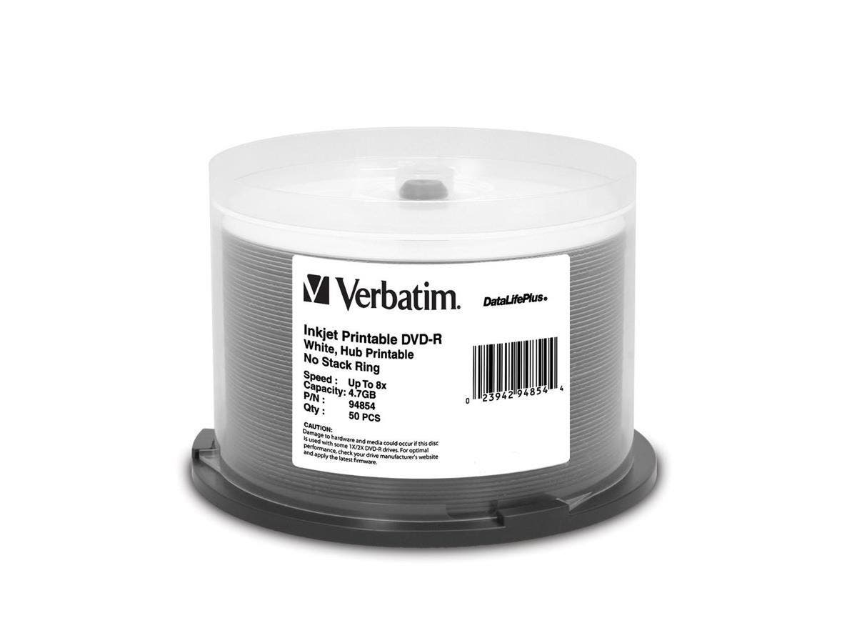 Verbatim DVD-R 4.7GB 8X DataLifePlus White Inkjet Printable, Hub Printable - 50pk Spindle - TAA Compliant - 4.7GB - 50pk Spindle