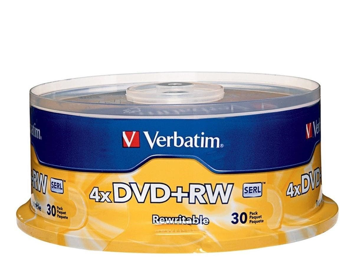 Verbatim DVD+RW 4.7GB 4X with Branded Surface - 30pk Spindle - TAA Compliant - 4.7GB - 30 Pack-Large-Image-1