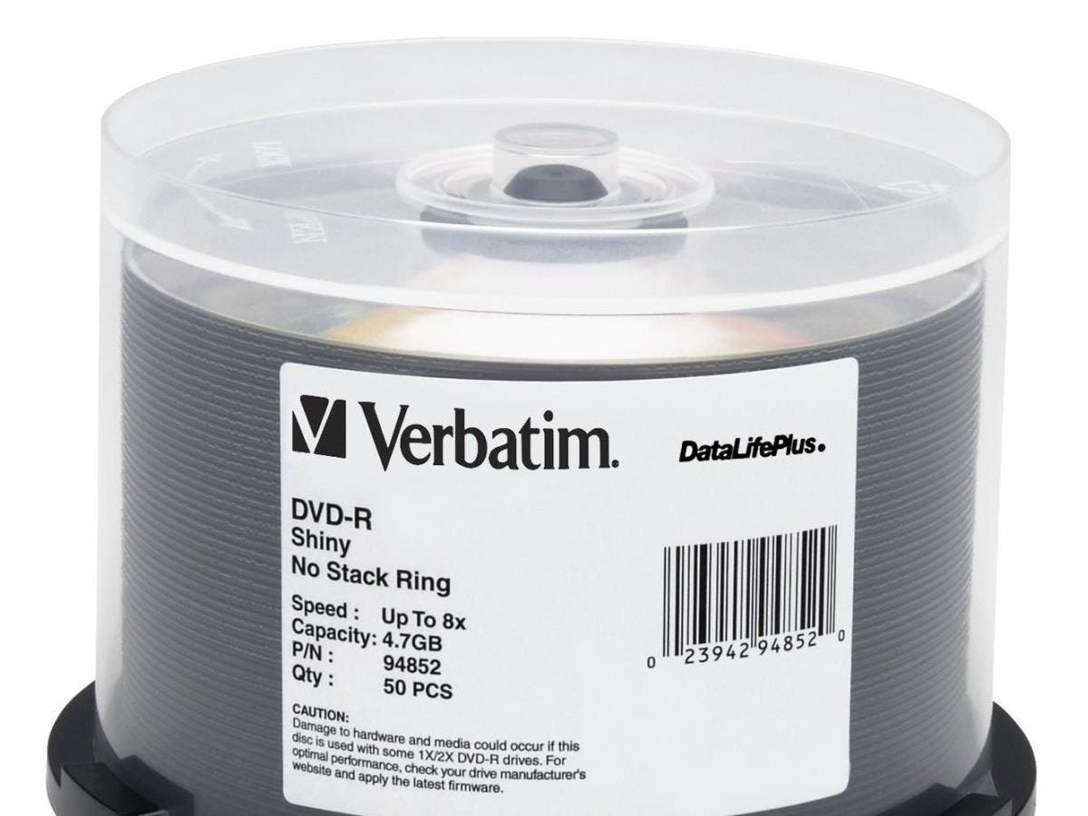 Verbatim DVD-R 4.7GB 8X DataLifePlus Shiny Silver Silk Screen Printable - 50pk Spindle - TAA Compliant - 4.7GB - 50 Pack-Large-Image-1