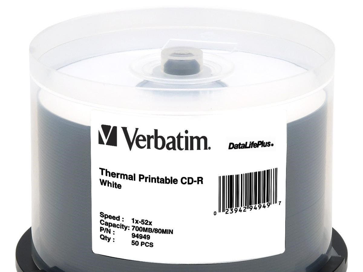 Verbatim CD-R 700MB 52X DataLifePlus White Thermal Printable - 50pk Spindle - Printable - Thermal Printable