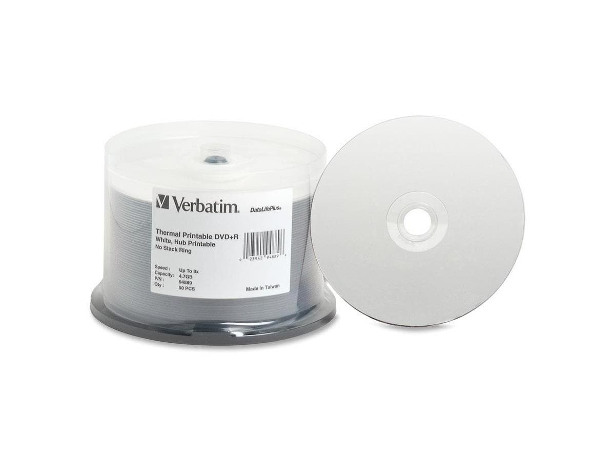 Verbatim DVD+R 4.7GB 8X DataLifePlus White Thermal Printable, Hub Printable - 50pk Spindle - TAA Compliant - Thermal Printable