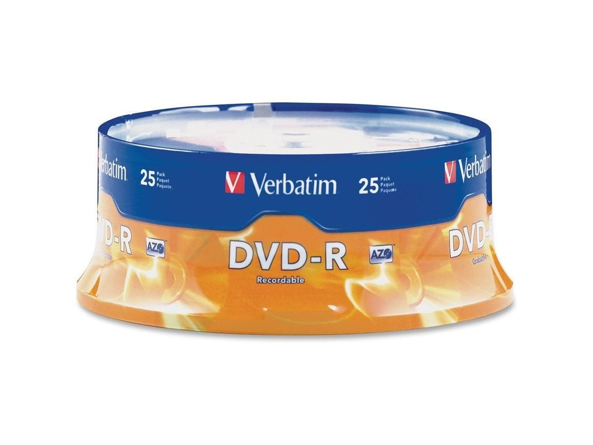 Verbatim AZO DVD-R 4.7GB 16X with Branded Surface - 25pk Spindle - 2 Hour Maximum Recording Time-Large-Image-1