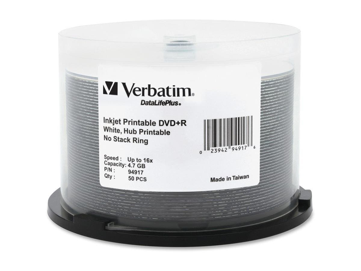 Verbatim DVD+R 4.7GB 16X DataLifePlus White Inkjet Printable, Hub Printable - 50pk Spindle - TAA Compliant - Inkjet Printable-Large-Image-1