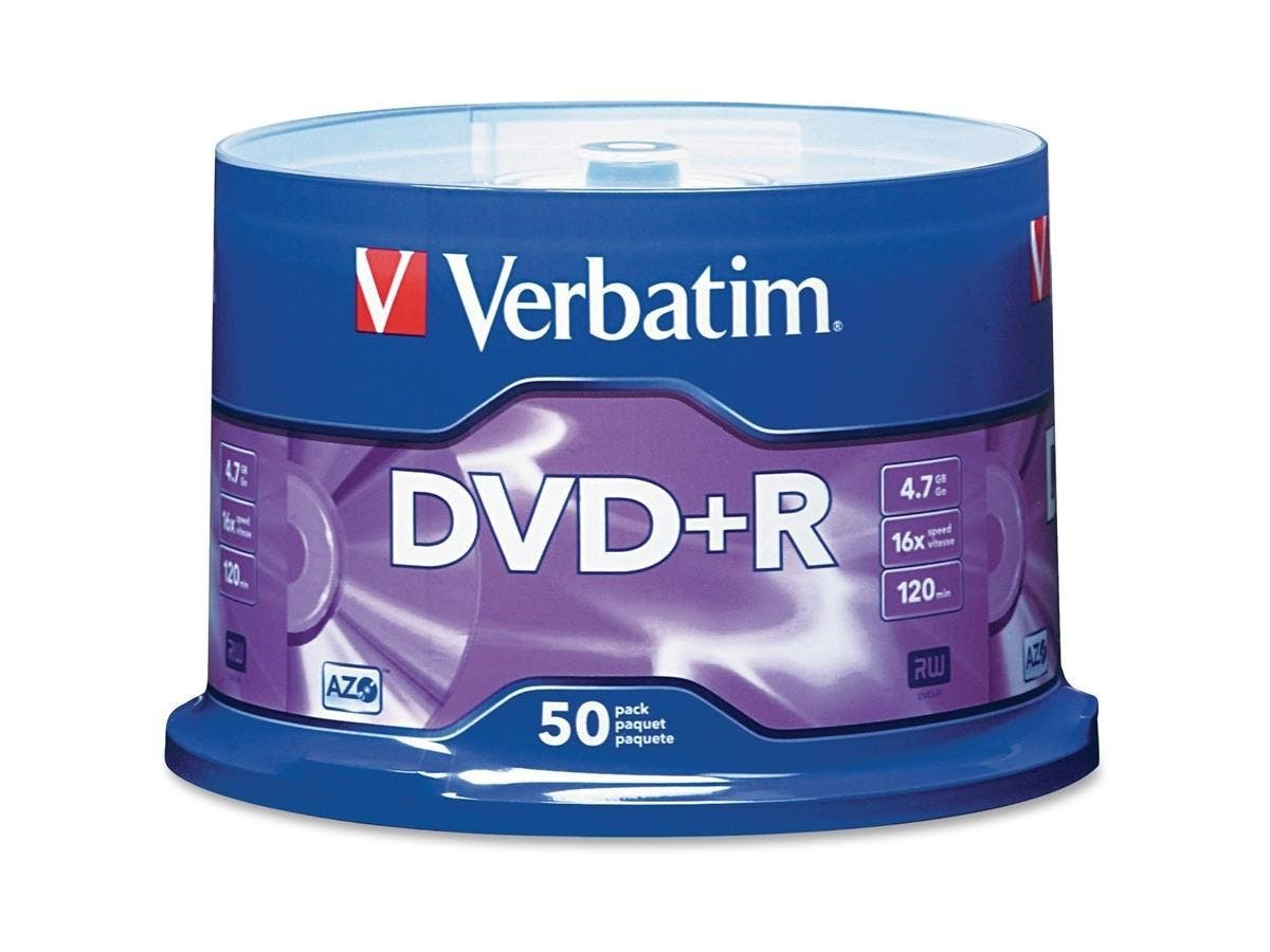 Verbatim AZO DVD+R 4.7GB 16X with Branded Surface - 50pk Spindle - 2 Hour Maximum Recording Time