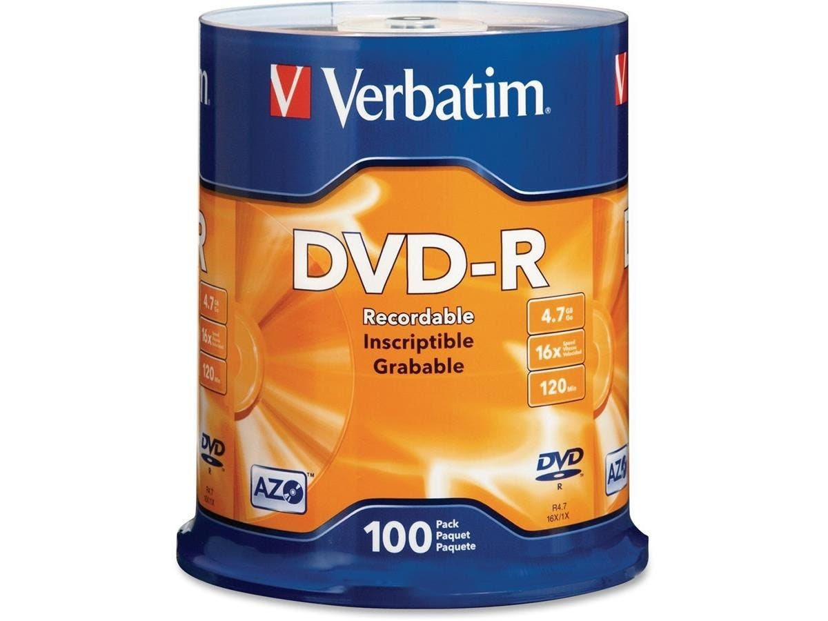 Verbatim AZO DVD-R 4.7GB 16X with Branded Surface - 100pk Spindle - DVD-R - 16x - 4.70 GB - 100pk Spindle-Large-Image-1