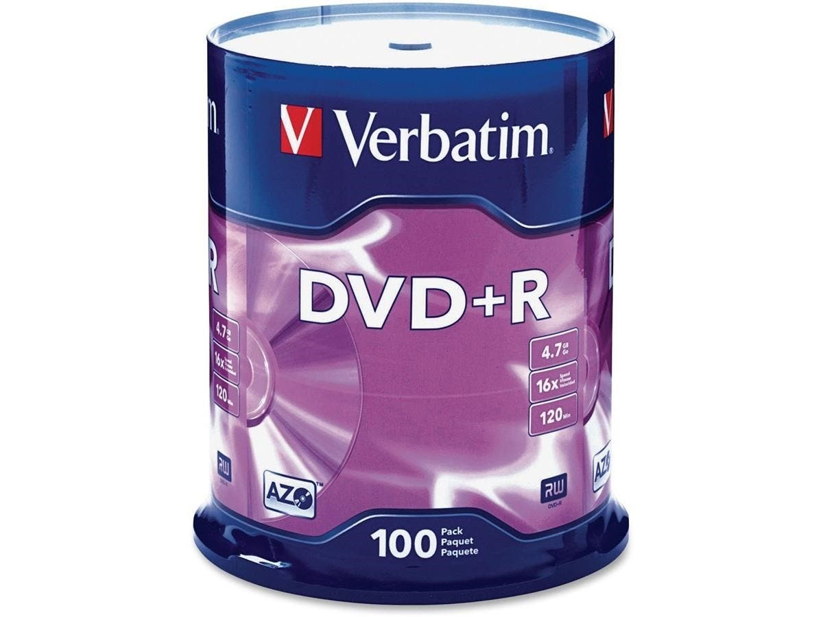 Verbatim AZO DVD+R 4.7GB 16X with Branded Surface - 100pk Spindle - 2 Hour Maximum Recording Time-Large-Image-1