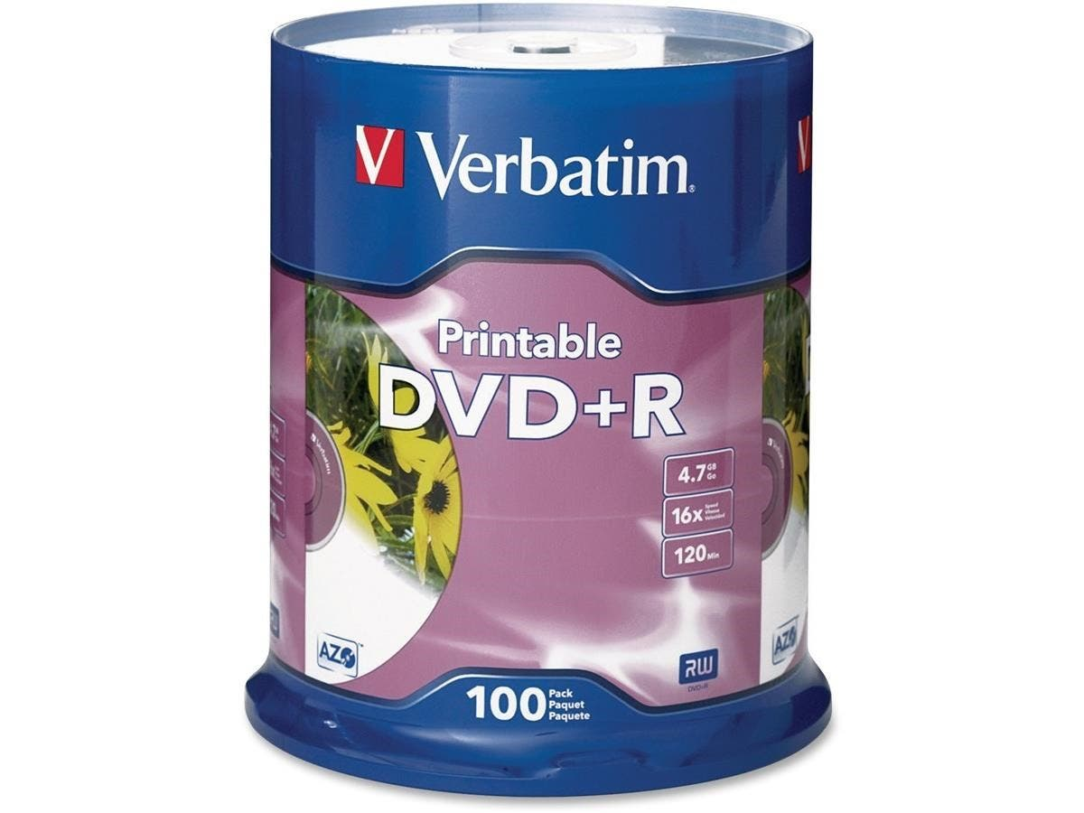Verbatim DVD+R 4.7GB 16X White Inkjet Printable - 100pk Spindle - TAA Compliant - 120mm - Printable-Large-Image-1