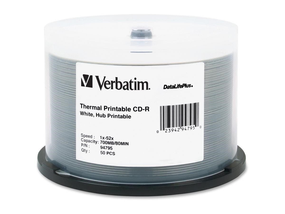 Verbatim CD-R 700MB 52X DataLifePlus White Thermal Printable, Hub Printable - 50pk Spindle - Printable - Thermal Printable-Large-Image-1