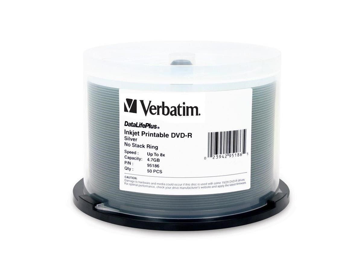 Verbatim DVD-R 4.7GB 8X DataLifePllus Silver Inkjet Printable - 50pk Spindle - TAA Compliant - 4.7GB - 50 Pack-Large-Image-1