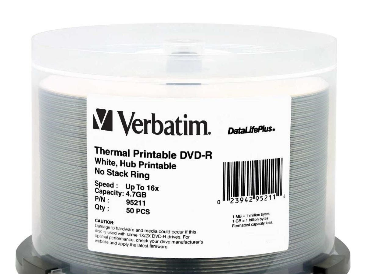 Verbatim DVD-R 4.7GB 16X DataLifePlus White Thermal Printable, Hub Printable - 50pk Spindle - TAA Compliant - 4.7GB - 50 Pack-Large-Image-1