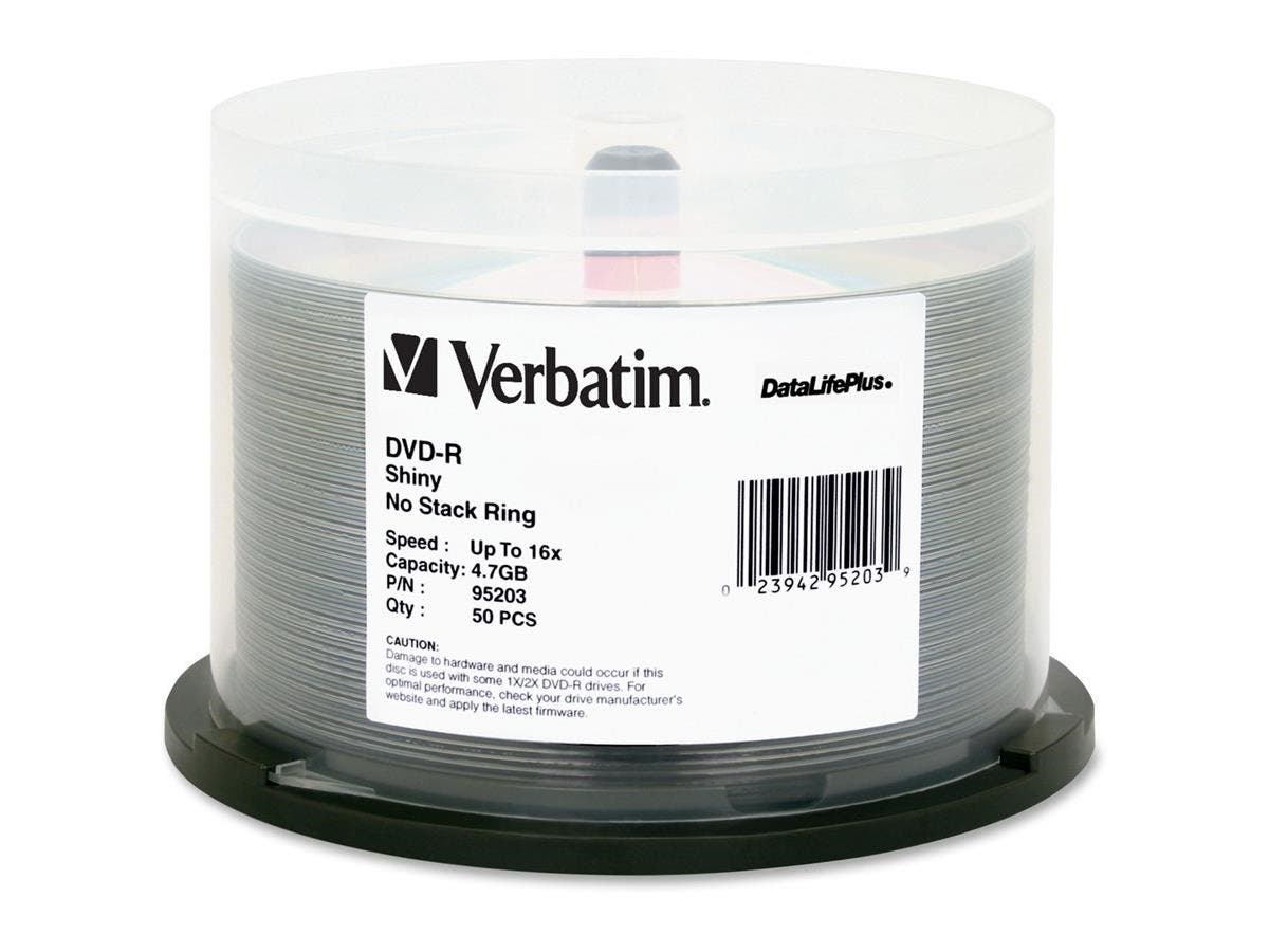 Verbatim DVD-R 4.7GB 16X DataLifePlus Shiny Silver Silk Screen Printable - 50pk Spindle - TAA Compliant-Large-Image-1