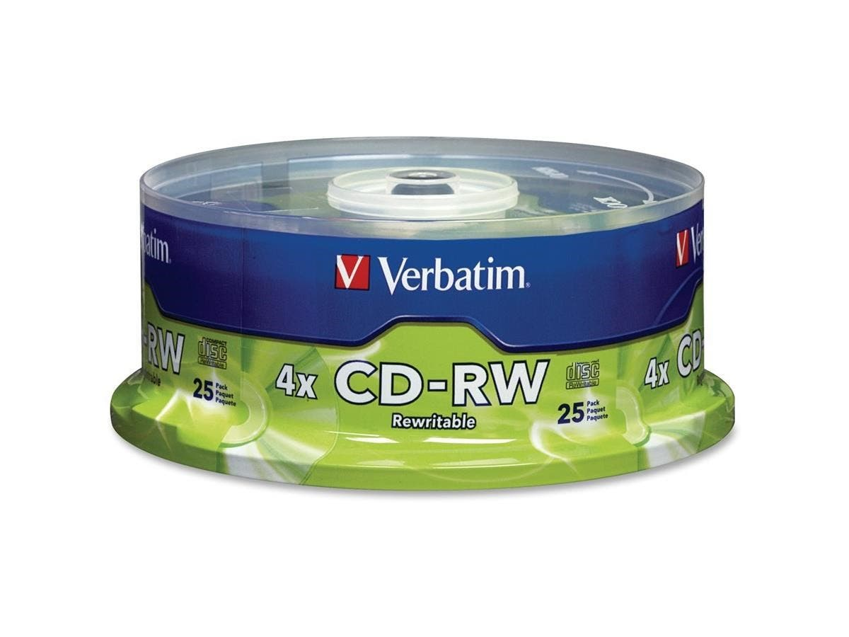 Verbatim CD-RW 700MB 2X-4X with Branded Surface - 25pk Spindle - TAA Compliant - CD-RW - 4x - 700 MB - 25pk Spindle