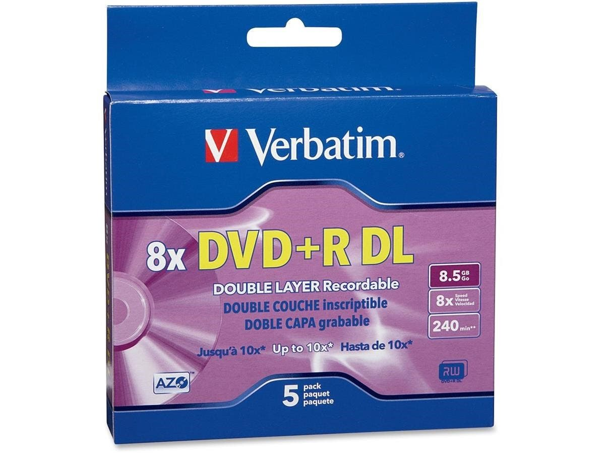 Verbatim DVD+R DL 8.5GB 8X with Branded Surface - 5pk Jewel Case Box-Large-Image-1