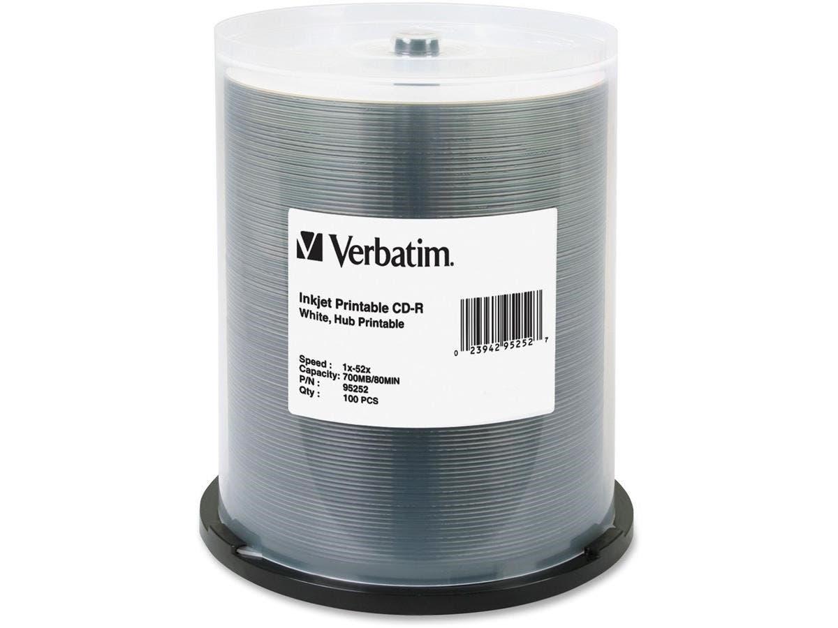 Verbatim CD-R 700MB 52X White Inkjet Printable, Hub Printable - 100pk Spindle - Printable - Inkjet Printable-Large-Image-1
