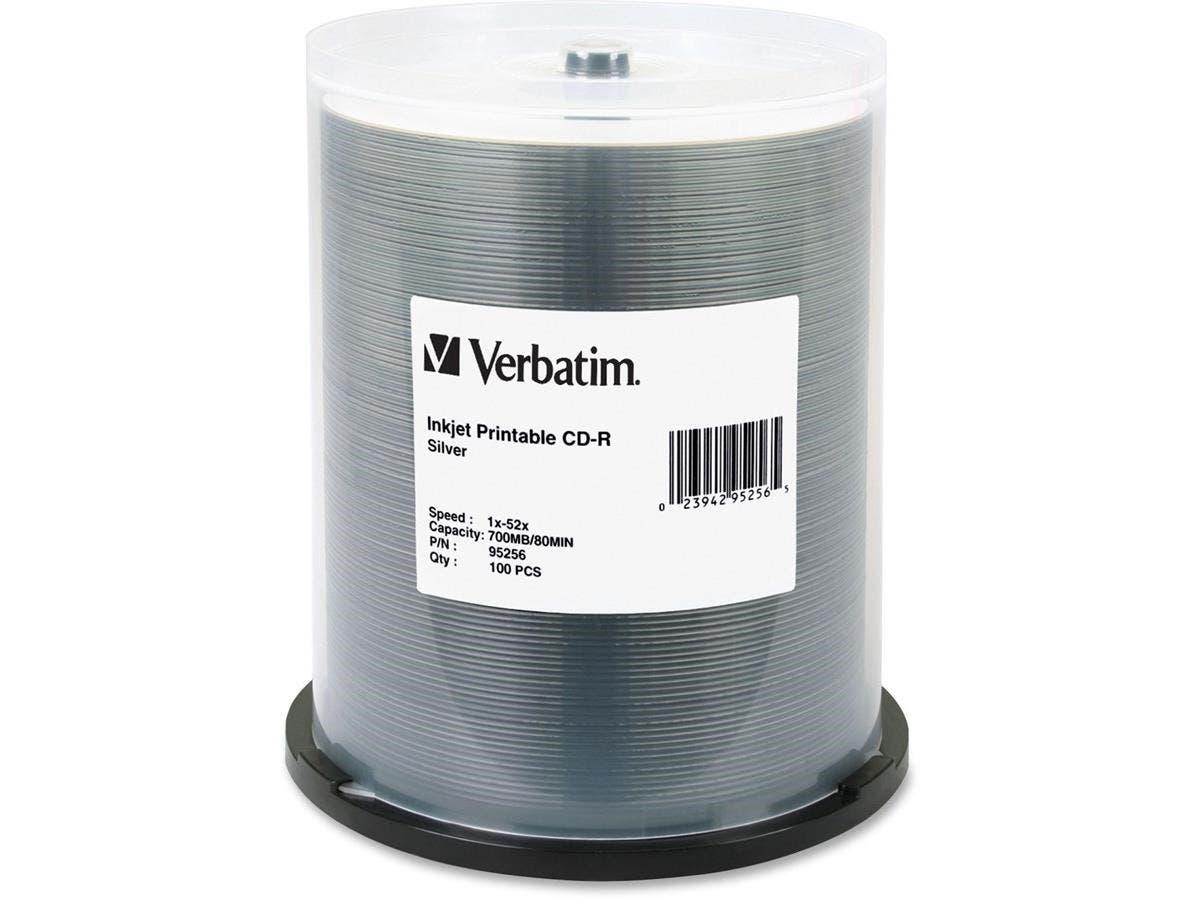 Verbatim CD-R 700MB 52X DataLifePlus Silver Inkjet Printable - 100pk Spindle - Printable - Inkjet Printable-Large-Image-1