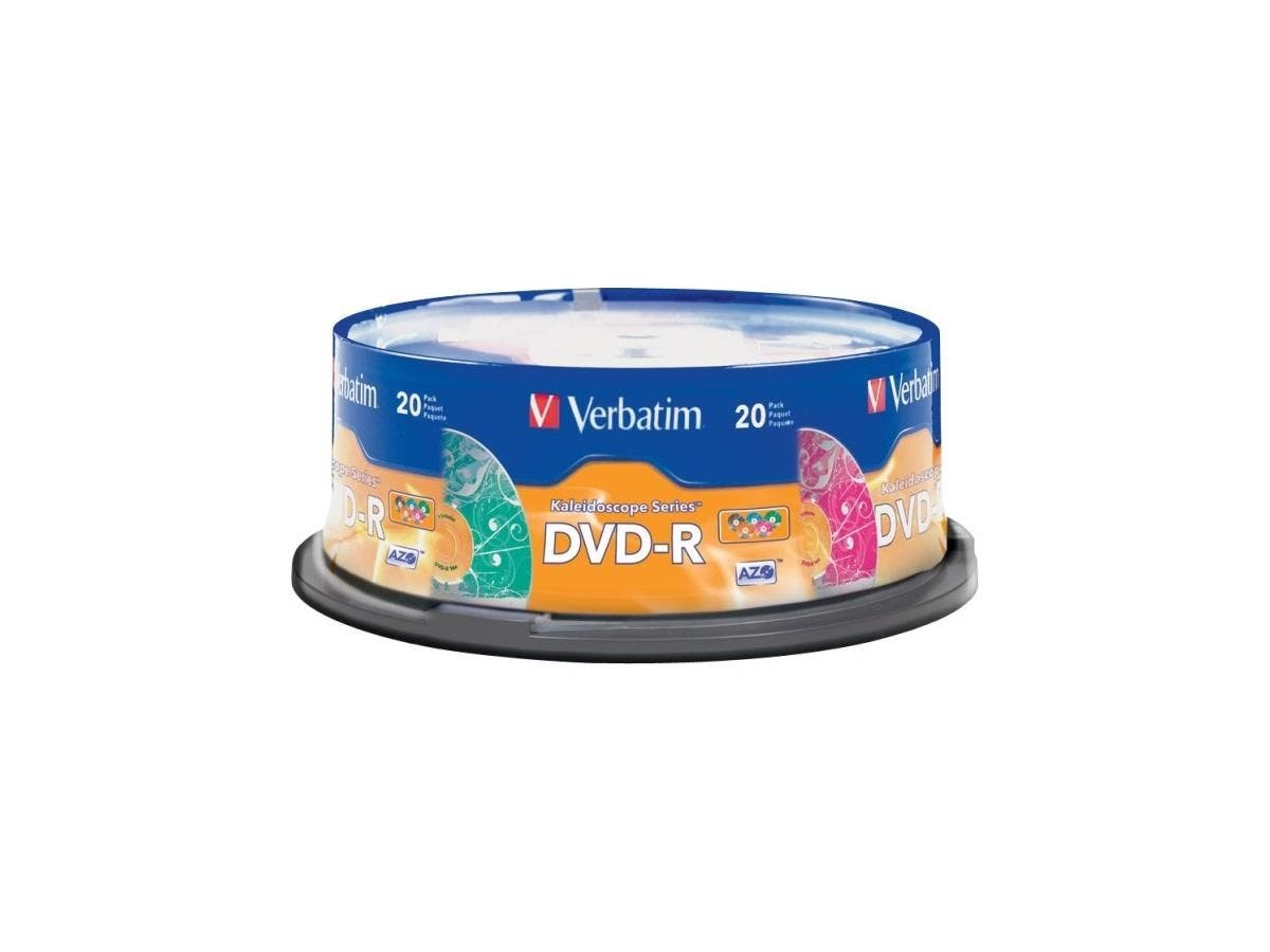 Verbatim DVD-R 4.7GB 16X Kaleidoscope Series - 20pk Spindle, Assorted - TAA Compliant - 120mm - 2 Hour Maximum Recording Time-Large-Image-1