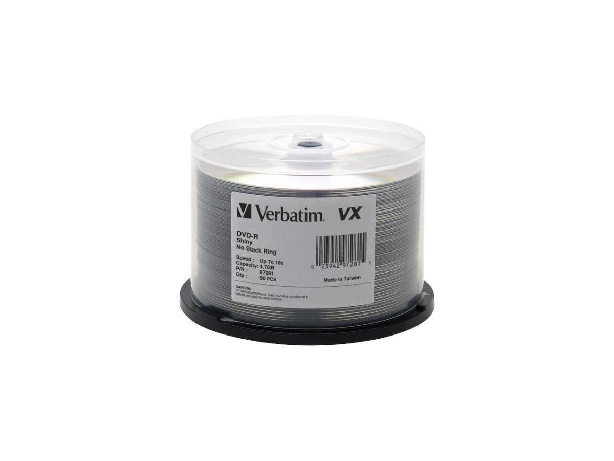 Verbatim DVD-R 4.7GB 16X VX Shiny Silver Silk Screen Printable - 50pk Spindle - TAA Compliant - 120mm - 2 Hour Maximum Recording Time-Large-Image-1