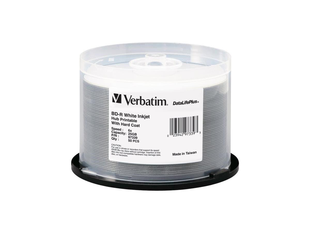 Verbatim BD-R 25GB 6X DataLifePlus White Inkjet Printable, Hub Printable - 50pk Spindle - TAA Compliant - 25GB - 50 Pack Spindle-Large-Image-1