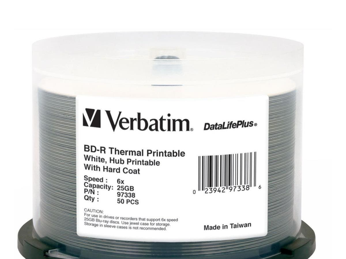 Verbatim BD-R 25GB 6X DataLifePlus White Thermal Printable, Hub Printable - 50pk Spindle - TAA Compliant - 25GB - 50pk Spindle