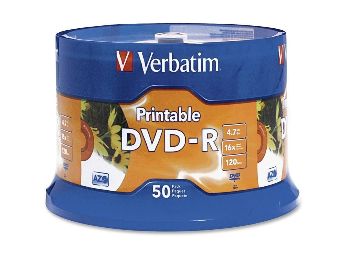 Verbatim DVD-R 4.7GB 16X White Inkjet Printable with Branded Hub - 50pk Spindle - TAA Compliant - 4.7GB - 50 Pack-Large-Image-1